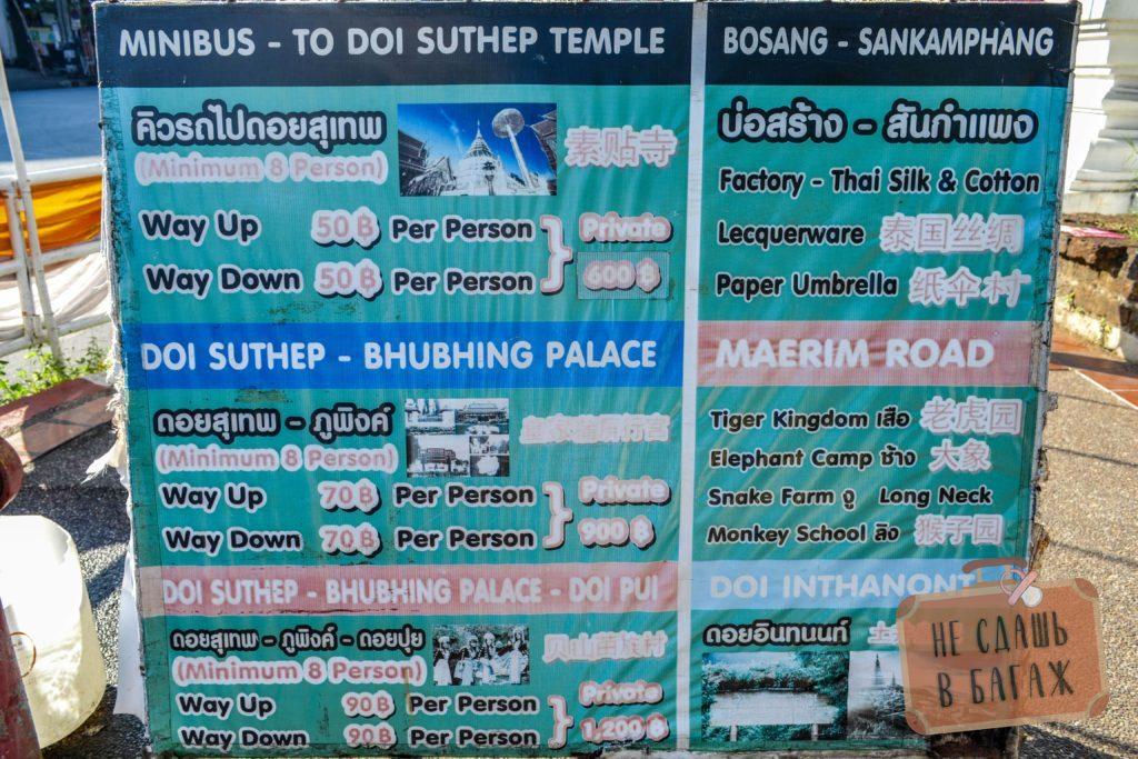 Стоимость проезда от старого города Чиангмай до храма Дой Сутхеп