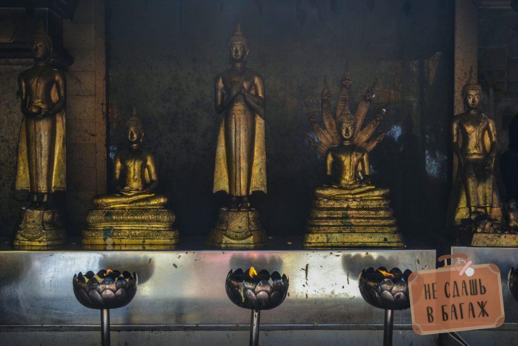 Статуи Будды во всех позах: стоящий, лежачий, сидячий