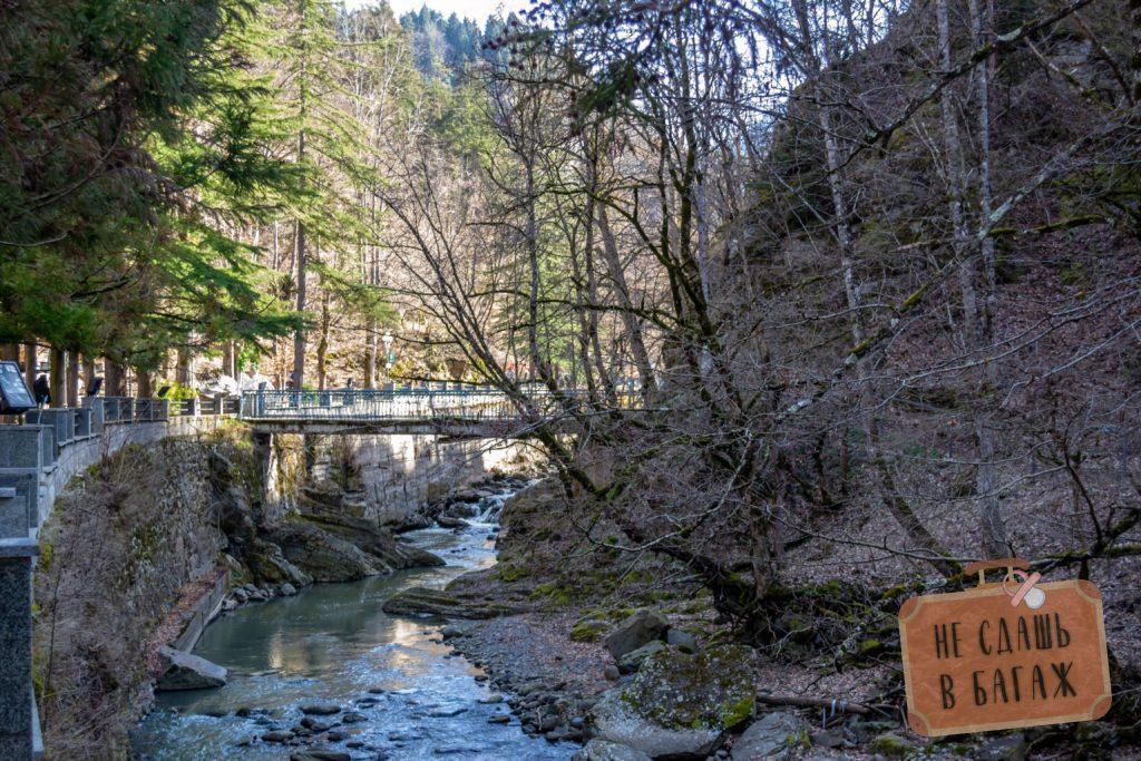 Лесная тропа к серным ваннам пролегает вдоль речки