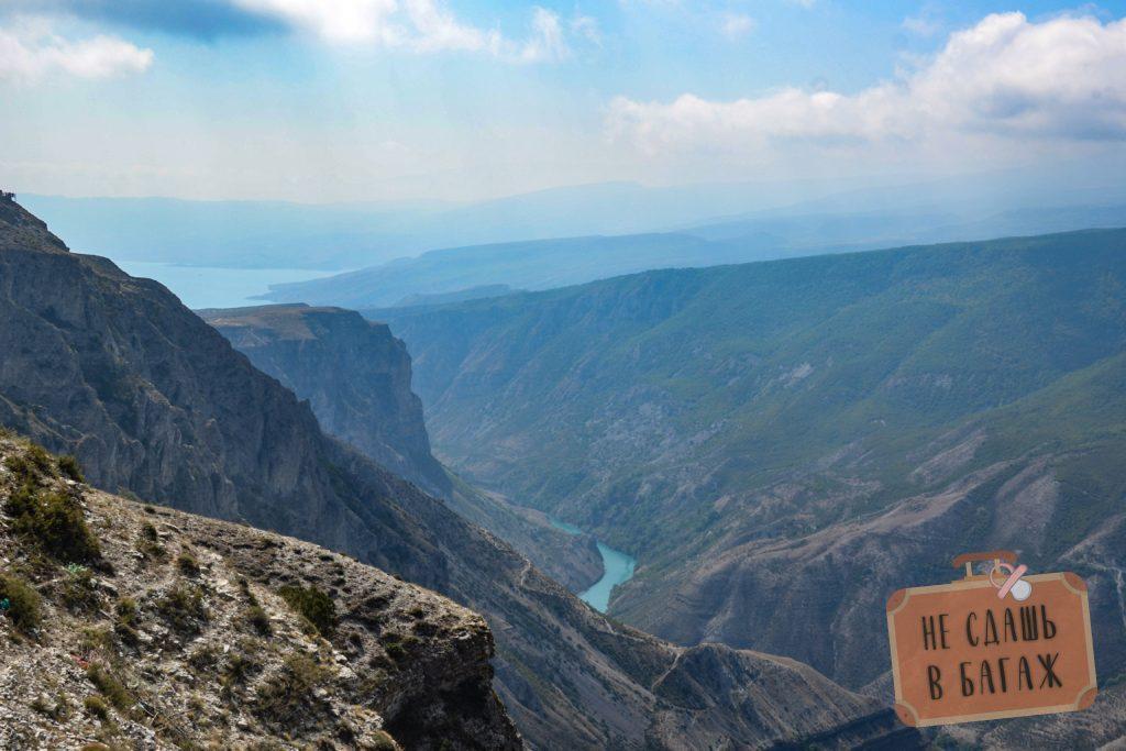 вид на Сулакский каньон из поселка Дубки