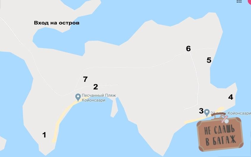 Карта острова Койонсаари